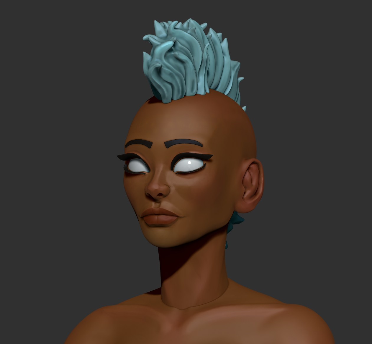 Stylized female head sculpt