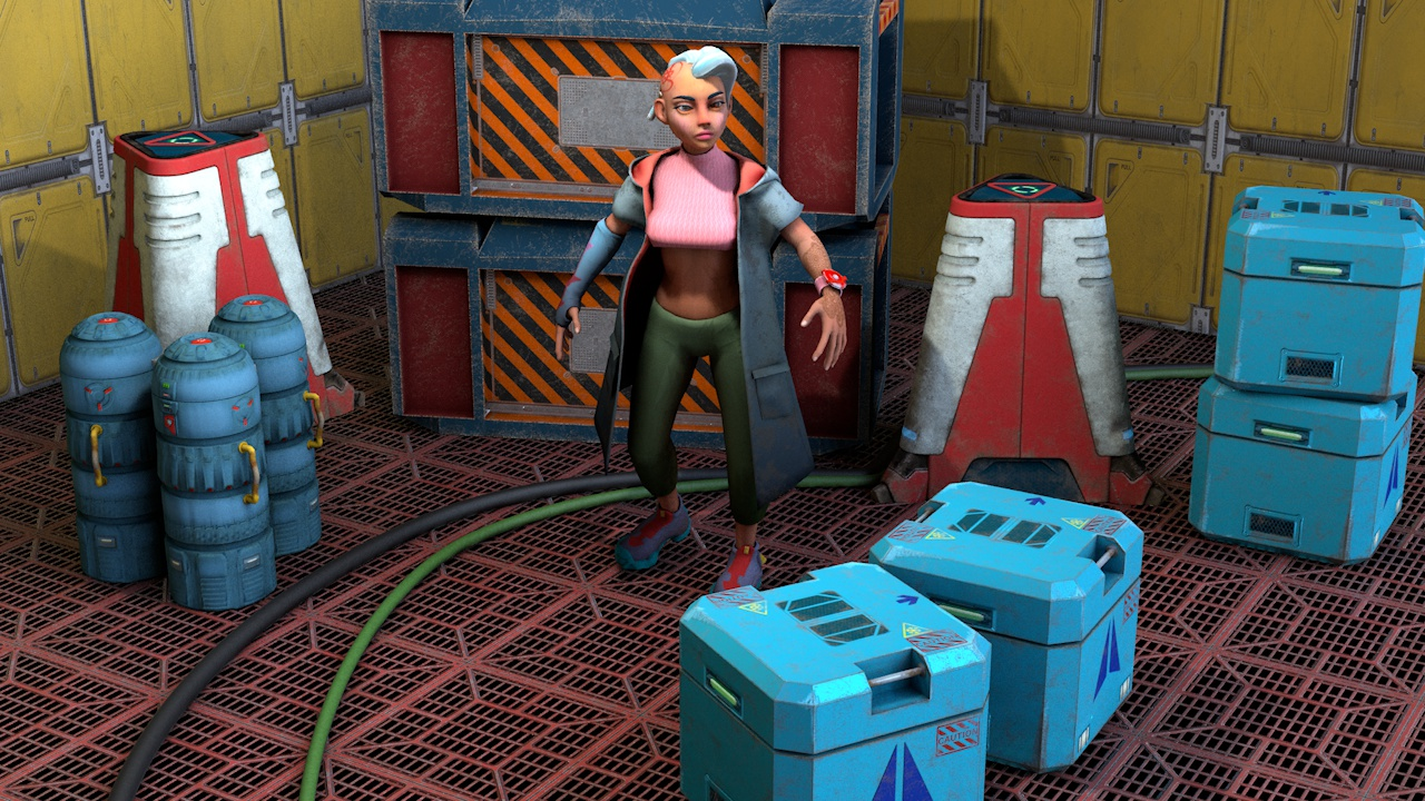 SciFi Girl and Containers